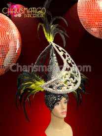 CHARISMATICO Turban Style Silver crystal studded Moon Headdress with Yellow Feathers