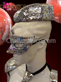 CHARISMATICO Fun And Funky Futuristic Gaga Silver Mirror Sailor Or Captain'S Hat