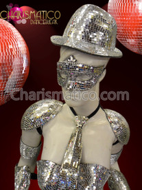 CHARISMATICO Fun Funky Futuristic Silver Mirror Fedora Gaga Style Private Eye Hat + Mask