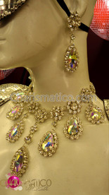 CHARISMATICO Rhinestone Embellished  Crystal Teardrop Diva Showgirl Necklace And Earring Set