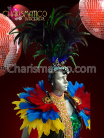 CHARISMATICO Double Plume Cabaret Feather Headdress and Exotic Rainbow Feathered Collar