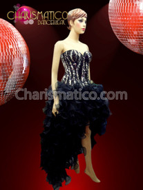 CHARISMATICO Zebra Striped Sequin Corset Dress with Black Organza Ruffled BURLESQUE Skirt