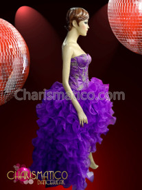 CHARISMATICO Embroidered Satin Deep Purple Corset Drag Dress with Organza Ruffled Skirt