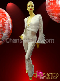 "CHARISMATICO Futuristic Spandex, Zipper Front, White ""Cartoon"" Styled Padded Pant Suit"
