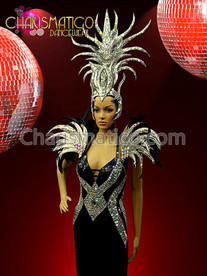 CHARISMATICO Showgirl Or Drag Queen'S Black And Silver Headdress And Matching Collar