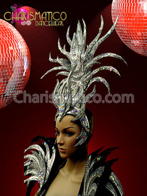 CHARISMATICO Exotic Silver Drag Queen'S Headdress With Crystal And Mirror Accents