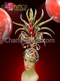 CHARISMATICO Gold and Red Drag Queen Headdress with Ruby and Mirror Accents