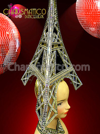 CHARISMATICO Shiny Silver Eiffel Tower Headdress With Sequined Studded Golden Feathers