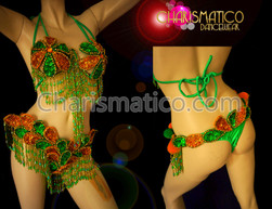 CHARISMATICO Floral Gold And Green Tropical Showgirl Brazilian Bra And Thong Bikini