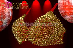 CHARISMATICO Red and Gold Metallic Spiked Covered Bra, Bikini, and Shoulder Pads