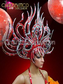 CHARISMATICO Red And Silver Drag Queen Shiva Inspired Headdress With Crystals