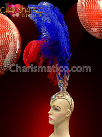 CHARISMATICO Blue Red Ostrich Feather Independent Flag Headdress With Multicolored Rhinestones