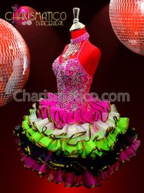 CHARISMATICO Pink Green White and Black Sissy Costume Organza Ruffle Dress