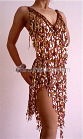 Brown Gold Salsa Dance V Neck Dress