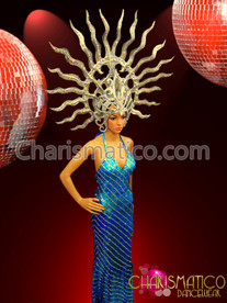 "CHARISMATICO Shiva Drag Inspired Silver €Œflame"" Headdress With Mirror Crystal Embellishments"