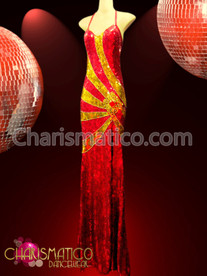 CHARISMATICO Figure Enhancing Gold Swirled Red Sequin Diva Drag Queen Pageant Gown