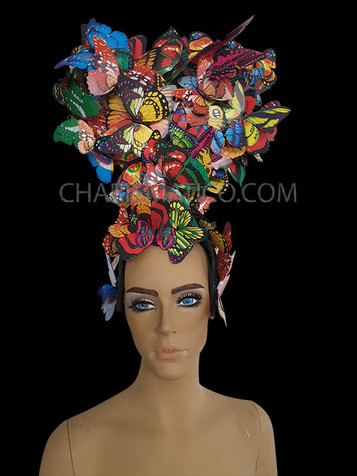 Wild Asymmetrical Muted Multiple-Color Feathered and Flowered Bejeweled Showgirl