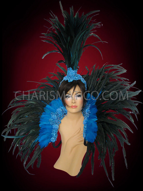 Charismatico Cabaret Drag Queen Large Feather Boa Backpack Royal Blue and Yellow