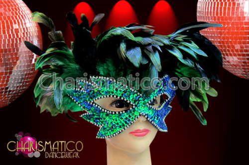 Yellow Eye Mask Fancy Dress Accessory Red Carnival Feather Green