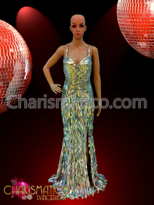 CHARISMATICO Figure flattering neon pink and white striped sequin pageant gown