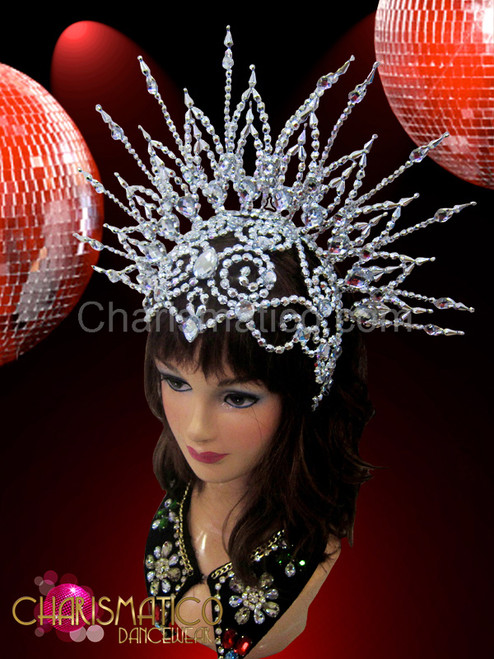 Sheer silver openwork beaded cap styled showgirl/'s cabaret sun headdress