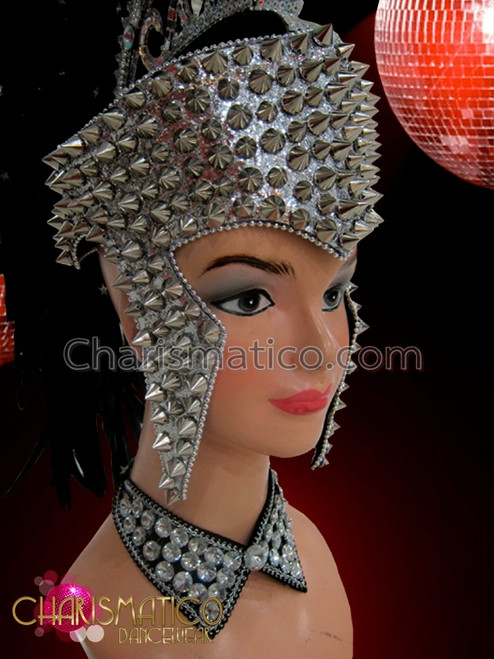 Charismatico White Black Glass Mohawk warrior Showgirl Drag Queen Headdress