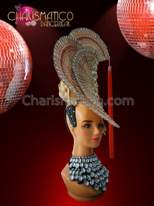 Crystal Accented Natural Carved Wood Fan Headdress and Matching Backpack