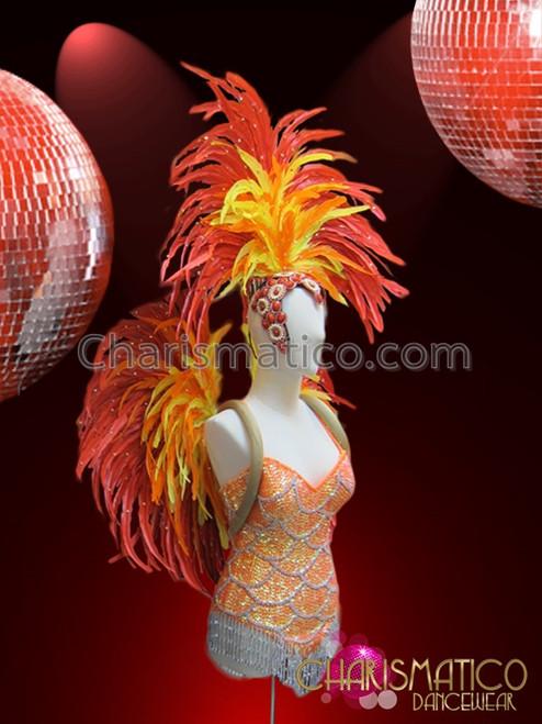 CHARISMATICO Three Piece Green Leotard Collar /& Headdress Brazil Samba Costume