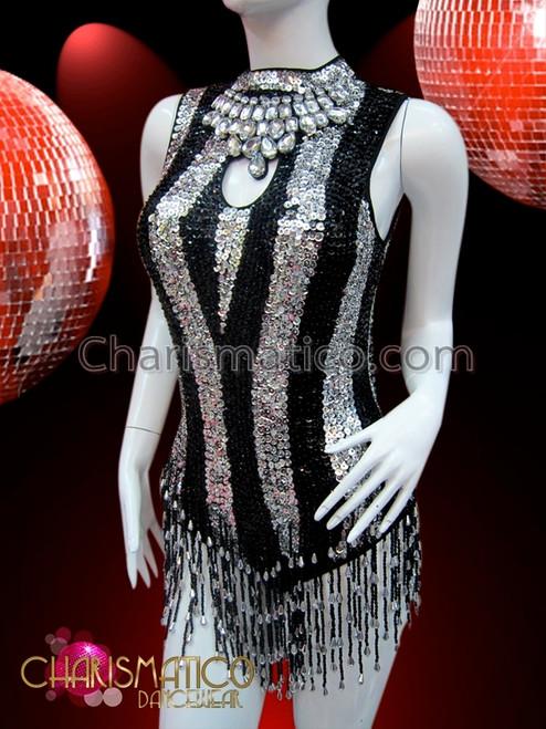 CHARISMATICO Black Silver Sequin Striped Keyhole Dancer/'s Beaded Fringe Leotard