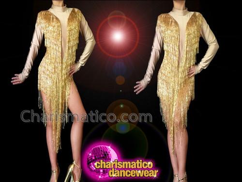 "CHARISMATICO Gold mockneck seed bead tasseled ""Cher"" inspired Latin Dance Dress"
