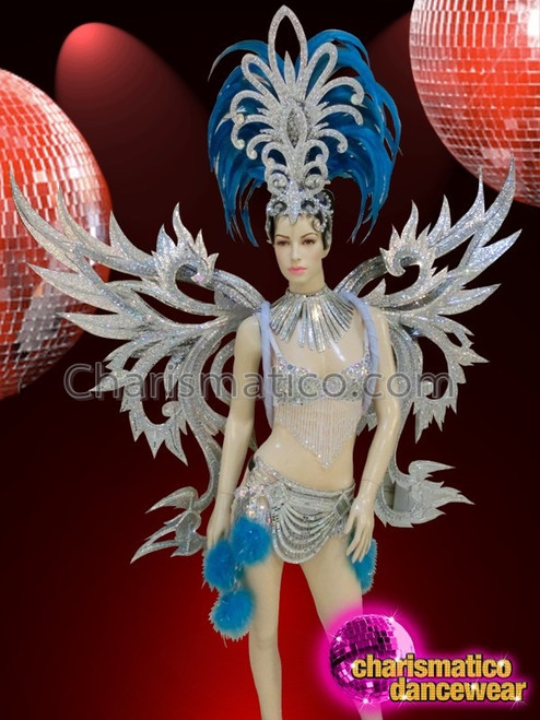 BLUE DRAG CABARET Feather SAMBA BRAZIL SHOULDER COLLAR
