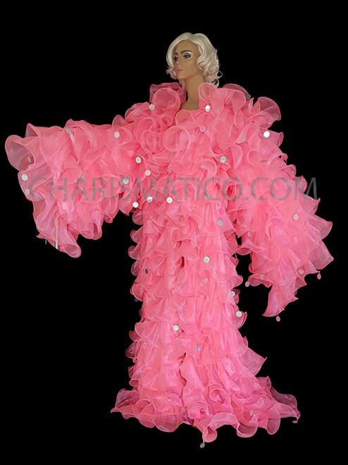 BLACK Organza SISSY CABARET Drag QUEEN Ruffle Jacket