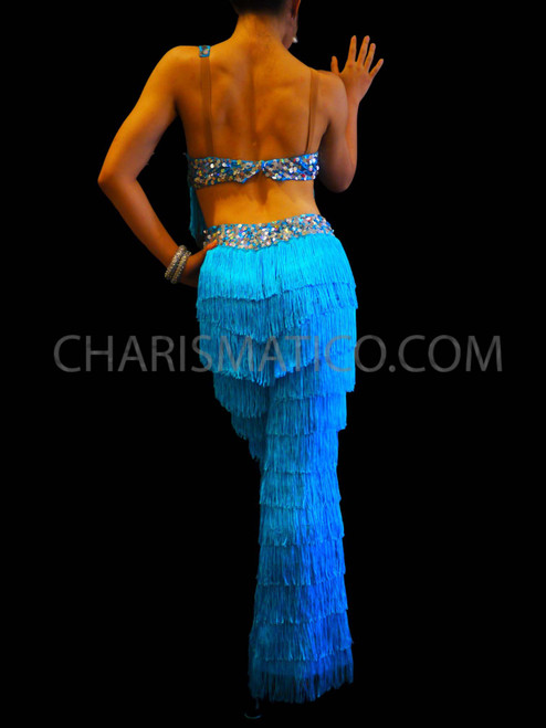 CHARISMATICO Dance with the Stars purple and pink Latin fringe pants
