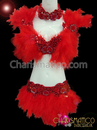 Beaded Red Applique Lace Decorated Feather Bra And Belt Set