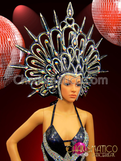 Black Glitter Cabaret Headdress with Mirror Tiles and Iridescent Crystals