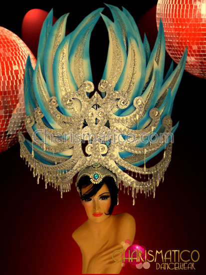 Blue And Silver Large Sword-Like Headdress With Crystals And Gemstones