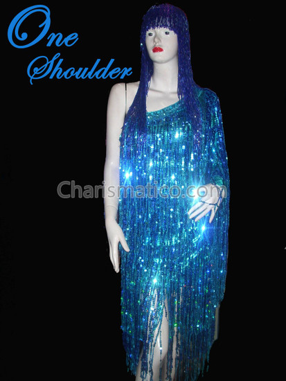 Blue Shiny Fringe One Shoulder Drag Queen Dress