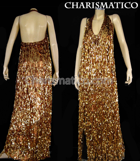 Brown  Shiny Fringe Halter Drag Queen Gown