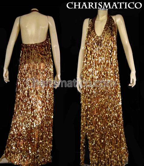 Brown  Shiny Fringe Halter Drag Queen Gown