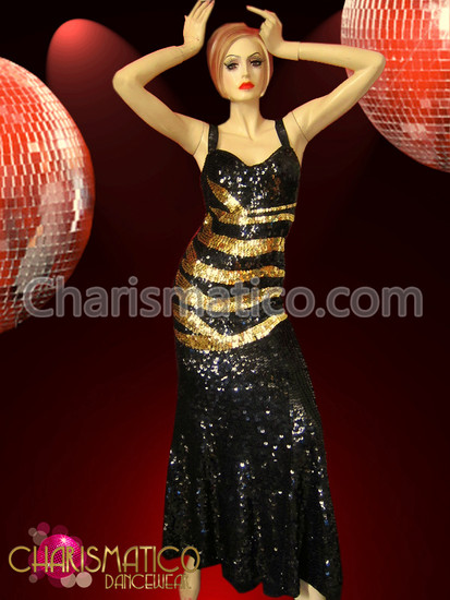 d43388997652 Drag Queen Diva's Black sequin Pageant gown with Gold stripes