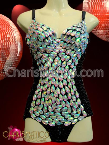 CHARISMATICO Black Sequin Showgirl'S Dance Leotard With Teardrop Iridescent White Crystals