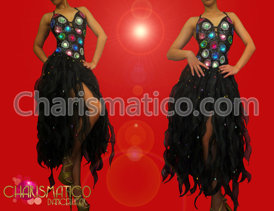 CHARISMATICO Crystal and bead accented Black organza flame ruffled Latin dress