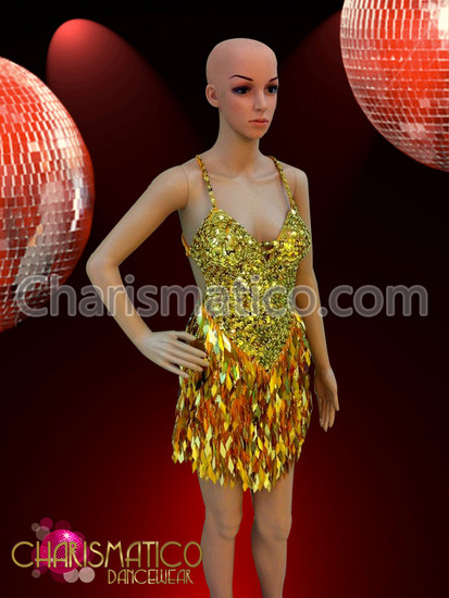 4ae032232f34 Swirl patterned gold sequin Dance dress with diamond sequin fringe