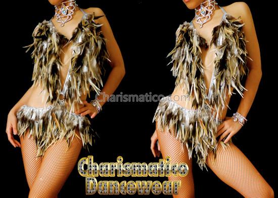 Brown Feather Samba Burlesque Dance Dress