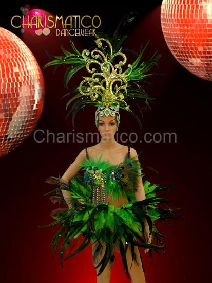 Brazilian Three piece Diva's Headdress, patchwork bra and feather belt set