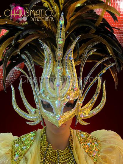 Bronze feathered metallic golden mask headdress with silver mirror tiles