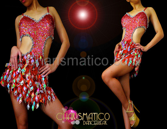DIVA Icy Red and silver laser diamond fringe cutout dance dress