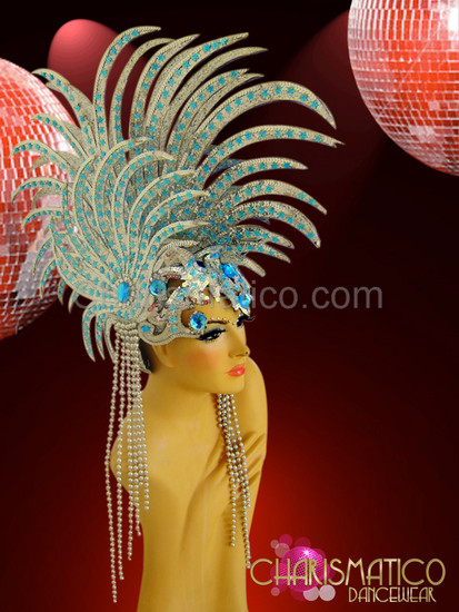 "CHARISMATICO Beaded Silver Glitter €Œlionfish"" Headdress With Sky Blue Crystal Accents"