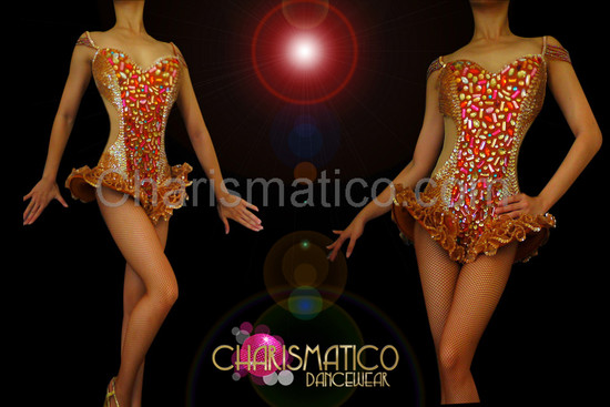 Cutout Illusion shimmering brown hip-ruffle leotard with warm crystal accents