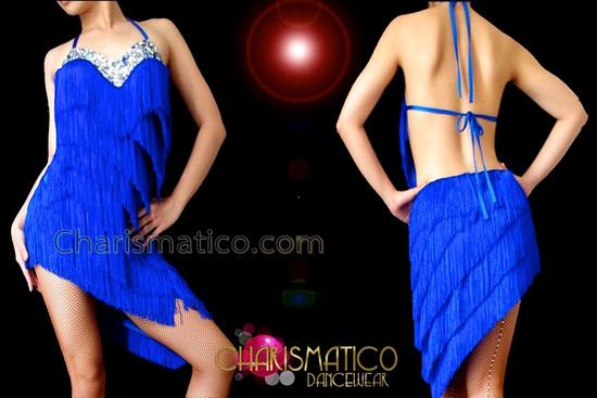CHARISMATICO Crystal Embellished Royal Blue Fringe Halter Style Latin Dance Dress